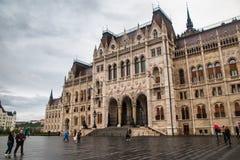 Byggande av parlamentet i en Budapest royaltyfri foto