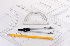 byggande borgerligt konstruktionsplan Arkivfoto