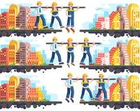 Byggande för affärsprocess och ömsesidig hjälp, teambuilding ledning eller teamwork, tre arbetare som arbetar, strategi av vektor illustrationer