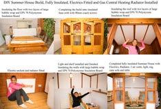 Byggande för hus för DIY-trädgårdsommar arkivbilder