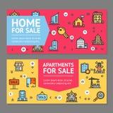 Byggande för reklambladbaner för hus eller för hem och för lägenhet till salu uppsättning för kort för affischer vektor royaltyfri illustrationer