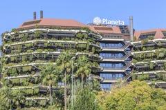 Byggande förlägger högkvarter den Planeta gruppen, den spanska massmediagruppen som är diagonal Arkivbild