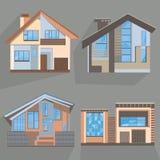 Byggande framlänges av stilhemmet, kontoret, stuga, shoppar vektor illustrationer