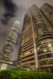 Byggande fyrkant för två utbyte i Hong Kong Arkivbild