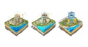 Byggande fyrkant Process av konstruktionsnollan Royaltyfri Bild
