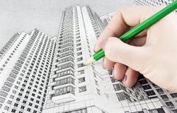 byggande hög stigning för draw fotografering för bildbyråer