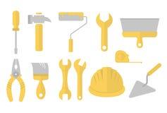 Byggande hjälpmedel inställda symboler Materielvektorillustration som isoleras på vit bakgrund Royaltyfria Bilder