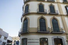 Byggande hus var född Pablo Picasso historisk mitt av Mala Royaltyfria Foton