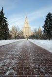 byggande huvudmoscow delstatsuniversitet Royaltyfri Fotografi