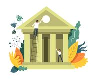 Byggande institution för bankrörelsefolk och framkallning det vektor royaltyfri illustrationer