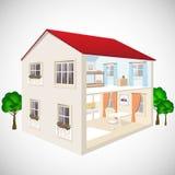 Byggande isometrisk begreppsvektor för plan rengöringsduk 3d Yttersida och inre isometry rum Hus i snitt Arkivfoto