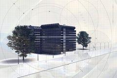 byggande modernt kontor royaltyfri illustrationer