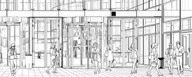 byggande nära kontorsfolk royaltyfri illustrationer