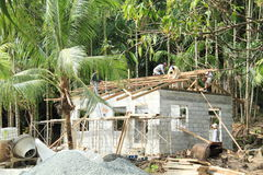 Byggande nytt hus Arkivbild