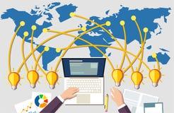 Byggande online-affärsidé Arbetsplats och många ljusa kulor för idé från lite varstans världen stock illustrationer