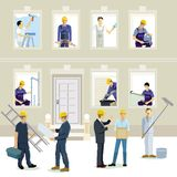 Byggande på konstruktionsplatsen vektor illustrationer