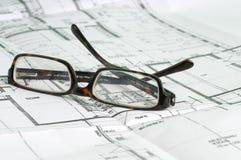 Byggande planerar royaltyfri foto