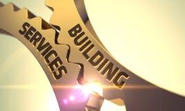 Byggande servicebegrepp kuggen gears guld- 3d Royaltyfria Foton