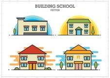 Byggande skolavektor vektor illustrationer