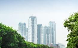 Byggande står hög på parkera Royaltyfri Fotografi