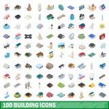 100 byggande symboler ställde in, isometrisk stil 3d Arkivfoto