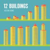 12 byggande vektorsymboler i plan design utformar för presentationen, häftet, websiten etc. Arkitekturvektorn undertecknar samlin Arkivfoton