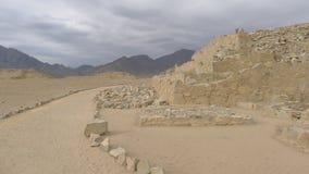 Byggd konstruktion av Caral civilisation för 5000 år sedan Royaltyfri Fotografi