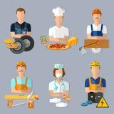 Byggmästare för snickare för kock för mekaniker för samlingsyrken fastställd royaltyfri illustrationer