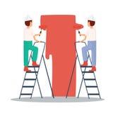 Byggmästare målar väggarna konstruktion skriver in inte arbetszon vektor Arkivbild