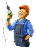Byggmästare med drillborren Arkivfoto