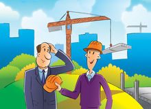 Byggmästare och inspektör royaltyfri illustrationer