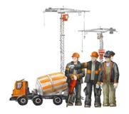 Byggmästare på byggnadsplatsen Industriell illustration med arbetare, kranar och maskinen för konkret blandare stock illustrationer