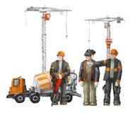 Byggmästare på byggnadsplatsen Industriell illustration med arbetare, kranar och maskinen för konkret blandare royaltyfri illustrationer