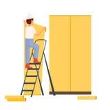 Byggmästare som målar väggarna Konstruktionsföretag royaltyfri illustrationer
