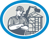 Byggmästarebyggnadsarbetare Mechanical Digger Oval Fotografering för Bildbyråer