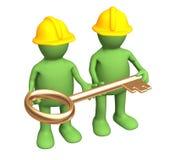byggmästareguld hands holdingen key dockor vektor illustrationer