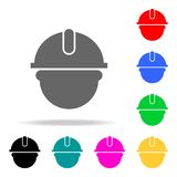 byggmästareman i en hjälmsymbol Beståndsdelar i mång- kulöra symboler för mobila begrepps- och rengöringsdukapps Symboler för web vektor illustrationer