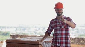 Byggmästaren godkänner byggnadsmaterial lager videofilmer