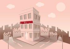 Byggnad av brandstationen Uppsättning av beståndsdelar för konstruktion av stads- och bylandskap vektor Royaltyfria Foton