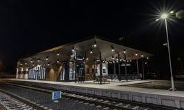 Byggnad av den gamla stationen i den Ceska Lipa staden Royaltyfria Foton