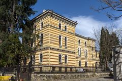 Byggnad av den heliga synoden av den bulgariska ortodoxa kyrkan i Sofia, Bulgarien royaltyfri foto