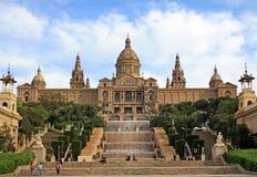 Byggnad av den nationella Art Museum av Catalonia i Barcelona Royaltyfria Bilder