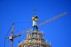 Byggnad av den nya kyrkan Royaltyfria Foton