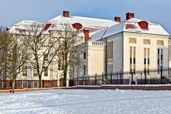 Byggnad av det tidigare Koenigsberg stadshuset (tysk Stadthalle). Kaliningrad (till Koenigsberg 1946), Ryssland arkivbild