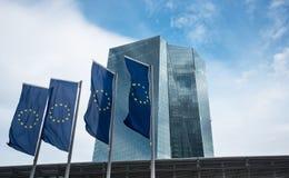 Byggnad av europeisk centralbankECB i Frankfurt Arkivbild