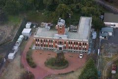Byggnad av Institutoen för geothermar vetenskaper av det Kyoto universitetet som ses från det globala tornet royaltyfria foton