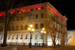Byggnad av lettiska Saeima i gamla Riga - berömd europeisk stad var turister kan finna en unik atmosfär Arkivbild