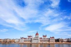 Byggnad av parlamentet i Budapest Royaltyfria Bilder
