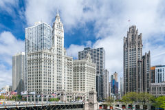 byggnad chicago wrigley Arkivfoto