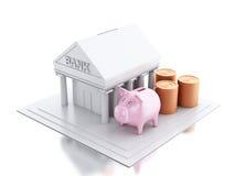 byggnad för bank 3d med den pengarmynt och spargrisen Arkivbild